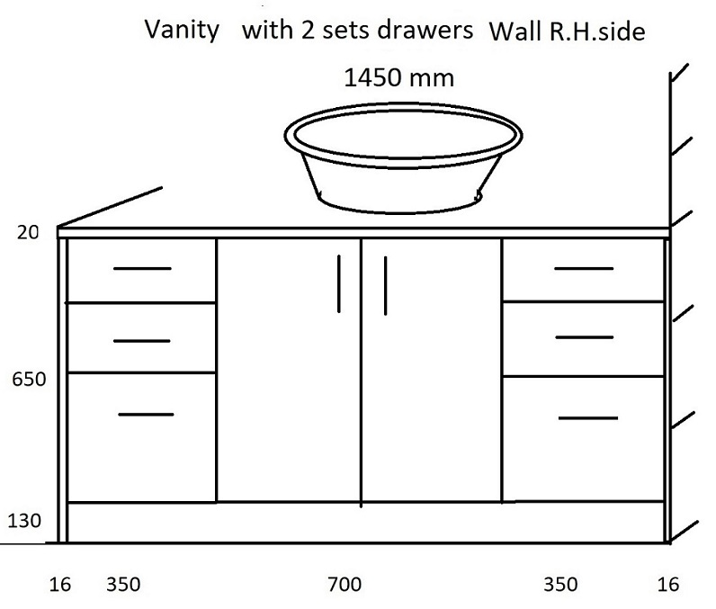 1450 mm vanity with 2 drawers sets Wall R.H. side.